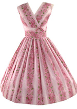 Vintage 1950s Pin-up Pink Roses Cotton Sun Dress  - New! (RESERVED)