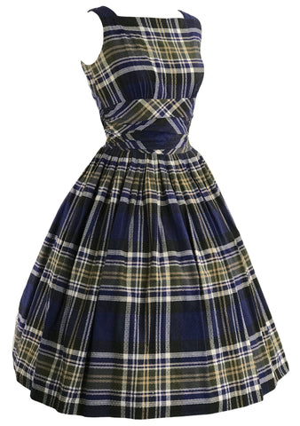 Vintage 1950s Navy Plaid Cotton Dress- New!