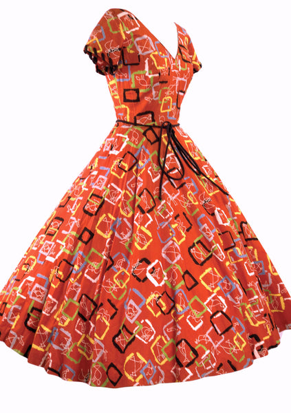 Vintage 1950s Orange Red Cotton Atomic Novelty Print Dress - New!