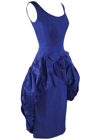 Vintage 1950s Royal Blue Silk Taffeta Cocktail Dress - New!