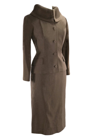 Sophisticated 1950s Mocha Gaberdine Wool Suit- New!