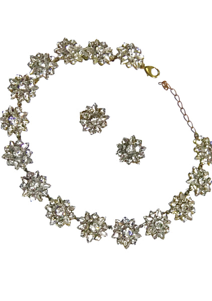 Beautiful Clear Crystal Czech Necklace & Earrings Set- New!