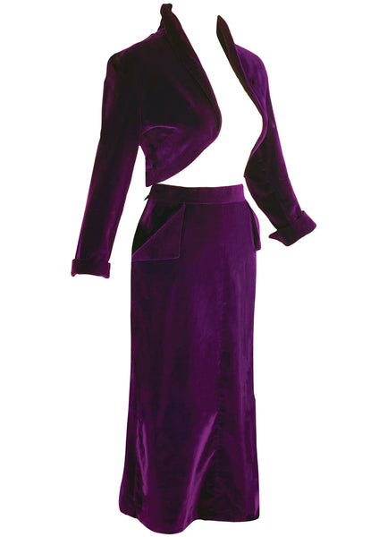 Sensational Figure Hugging 1950s Plum Velvet Suit - New!