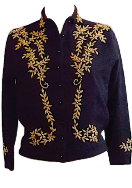 Vintage 1950s Black Lambswool Cardigan with Gold Beading- New