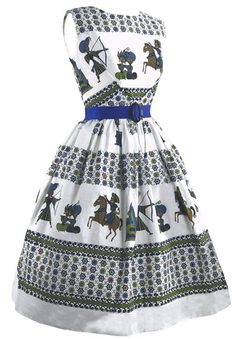 Vintage 1950s Novelty Print Cotton Dress- New!