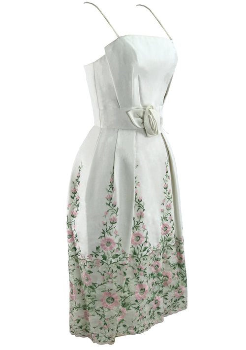 1960s White Linen Floral Embroidered Party Dress - New!