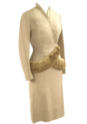 Designer 1950s Oatmeal Wool Crepe Lilli Ann Suit - New!