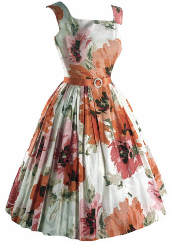 Vintage 1950s Pink and Orange Floral Cotton Dress- New!