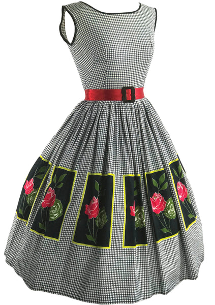 Vintage 1950s Gingham and Roses Panel Cotton Dress- New!