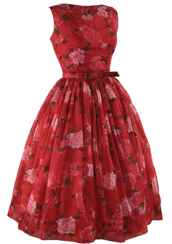1950s Jerry Gilden Designer Roses Chiffon Dress - New!