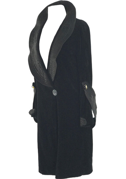 1920s Black Velveteen and Satin Flapper Coat - New!