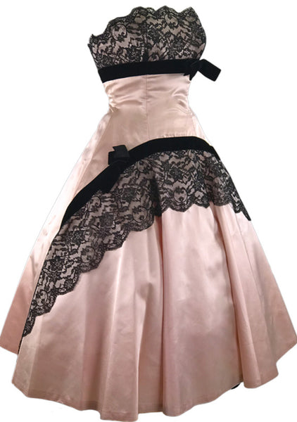 1950s Pink Silk Satin & Chantilly Lace Party Dress Ensemble - New!