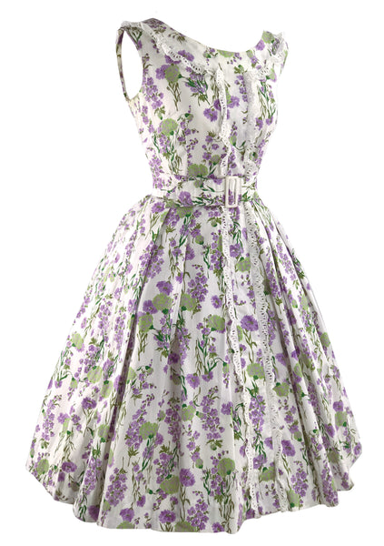 1950s Cotton Dress with Lavender & Sage Green Flowers - New!