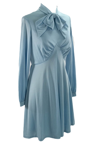 Vintage 1960s Mod Sky Blue Jersey Dress - New!