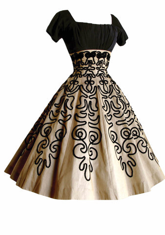 1950s Bronze Organdy with Soutache Trim Party Dress - New!