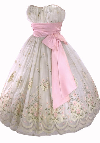 1950s Ivory and Pink Garland Flocked Party Dress - New!
