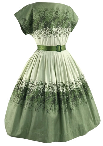 Late 1950s Green Trailing ivy Border Print Dress- New! (ON HOLD)