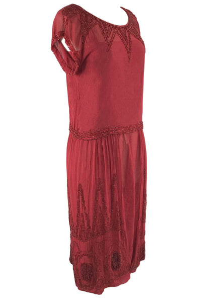 Vintage 1920s Red Beaded Chiffon Party Dress - New! (ON HOLD)