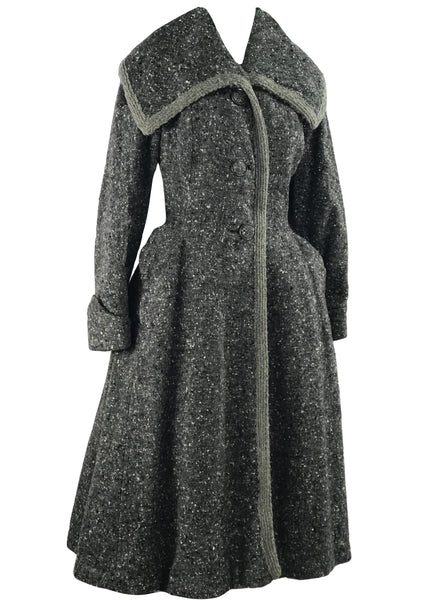 Vintage 1940s Charcoal Flecked Wool Princess Coat  New!