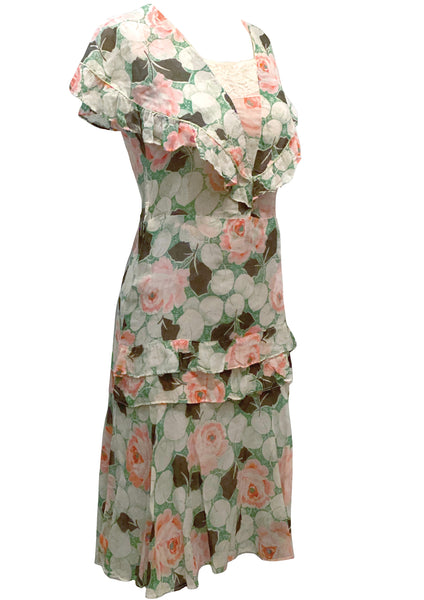 Early 1930s Pink Rose Print Voile Day Dress - New!