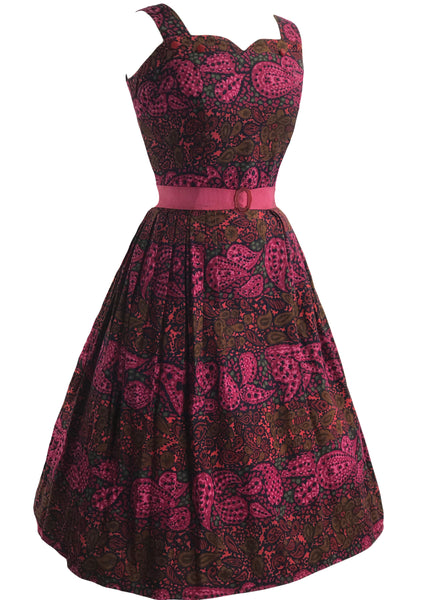 Vintage 1950s Magenta Paisley Print Cotton Dress- New!