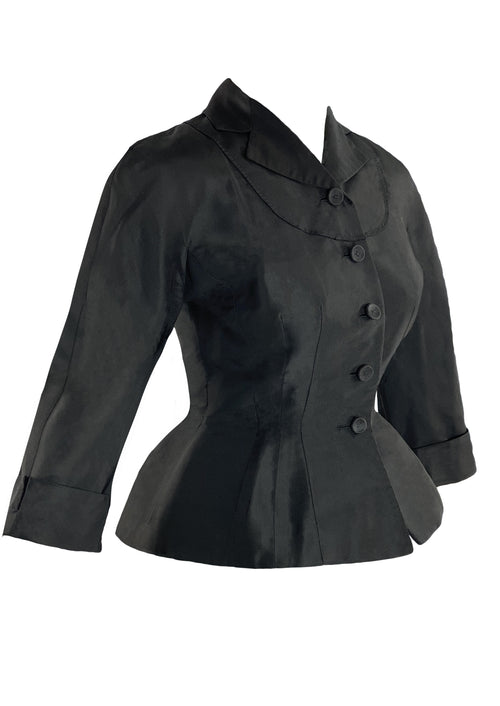 Vintage 1950s Black Silk Designer Jacket- New!