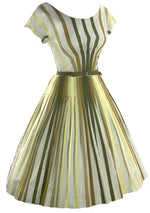 Early 1960s Green and Gold Stripe Cotton Dress - New!