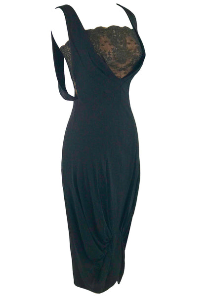 1940s -1950s Designer Black Silk Crepe Cocktail Dress - New!