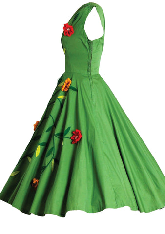 1950s Apple Green Cotton Floral Applique Dress- New!