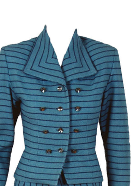 1940's Blue & Navy Striped Wool Skirt Suit - New!
