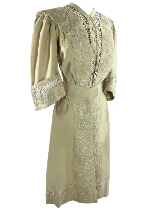Spectacular 1900s Embroidered Cream Wool Coat- New!