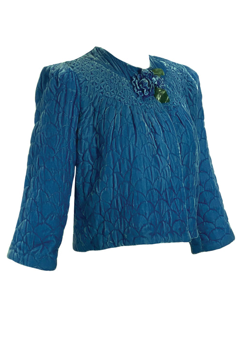 Vintage 1940s Quilted Blue Silk Velvet Jacket- New!