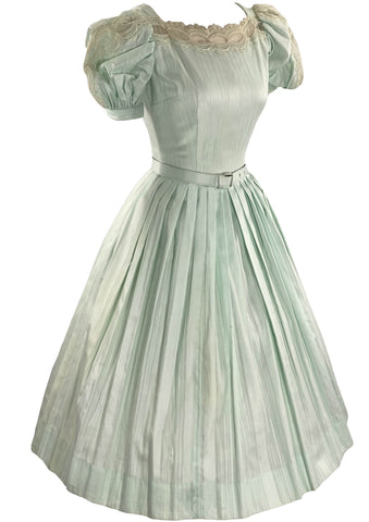 Vintage Deadstock 1950s Mint Green Cotton Dress- New!