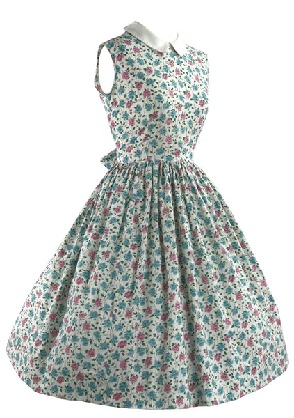Vintage 1950s Pink and Blue Roses Floral Cotton Dress - New! (ON HOLD)