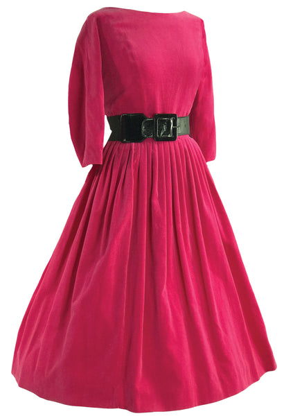 Vintage Early 1960s Cerise Velvet Dress- New!