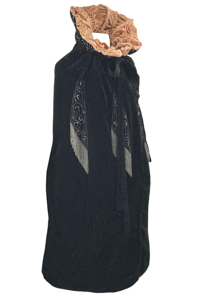 Vintage 1920s Rhinestone Studded Black Silk Velvet Cape - New!