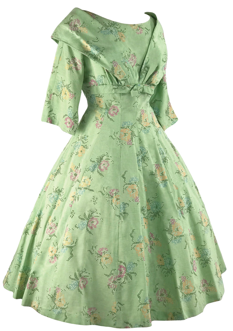 1950s Pistachio Green Cotton Floral Dress- New! (RESERVED)