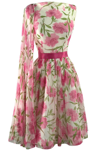 1950s Early 1960s Pink Carnation Chiffon Party Dress - New!