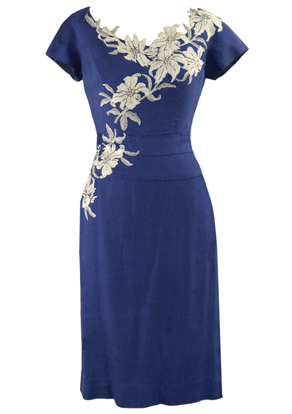 Vintage 1950s Designer Cobalt Blue Linen Dress- New!