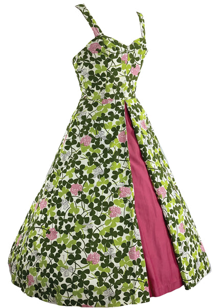 Vintage 1950s Pink Clover Flower Print Dress- New!