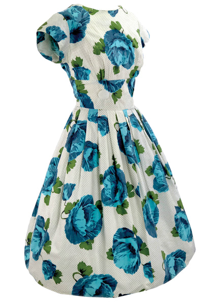 1950's Blue & White Huge Roses Print Cotton Dress - New!