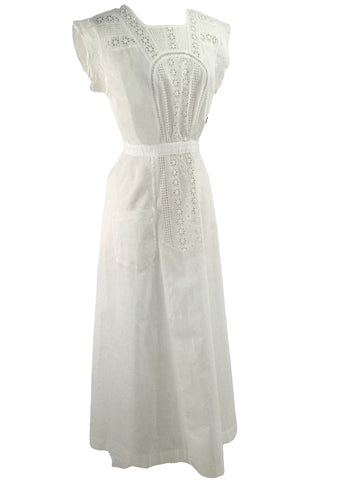 1900 - 1910 White Eyelet Cotton Pinafore Apron - New!