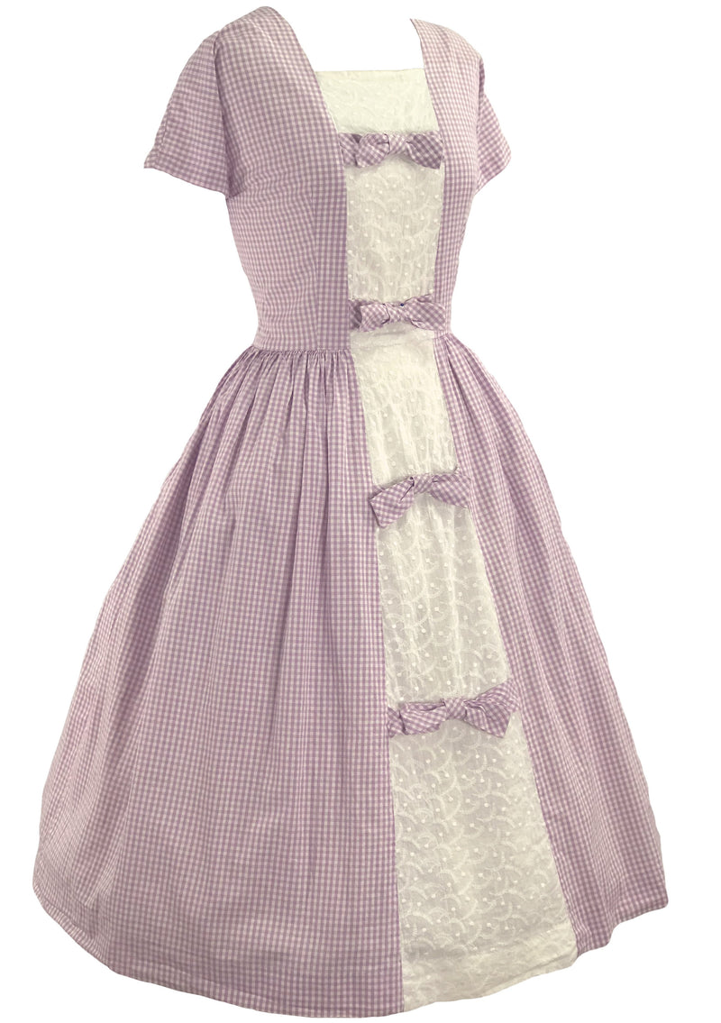 Vintage 1950s Lavender & White Gingham Cotton Dress - New!
