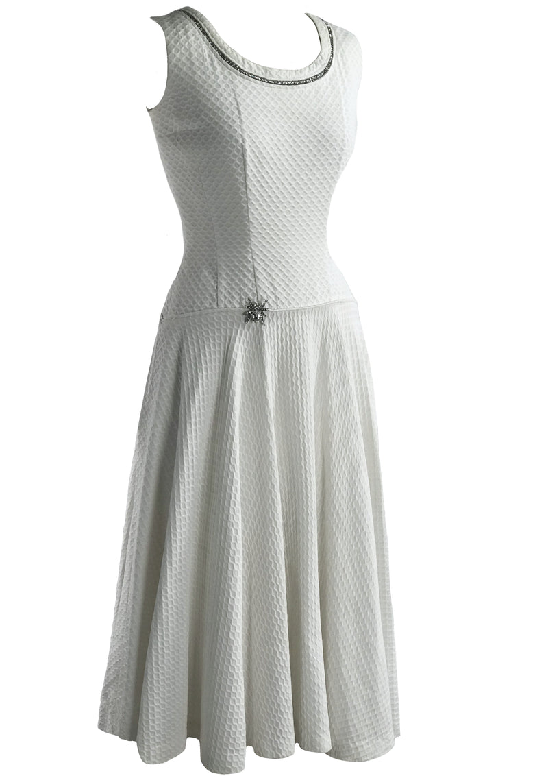1950s White Waffle Wave Cotton Lilli Ann Dress- New!