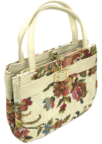 Original 1950s Cream Floral Tapestry Handbag- New ! (ON HOLD)