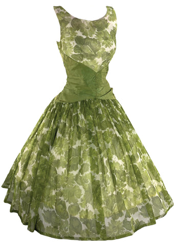 Gorgeous Vintage 1950s Green Floral Party Dress - New!