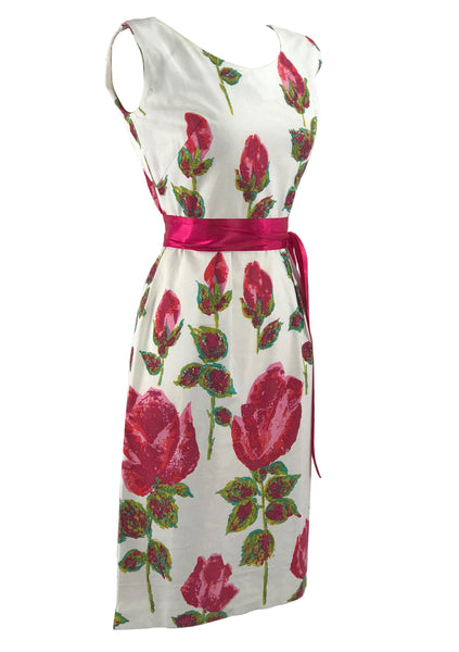 Stunning 1960s Huge Magenta Stem Roses Wiggle Dress - New!