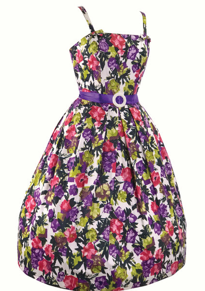 Vibrant 1950s Impressionist Floral Polished Cotton Dress- New!