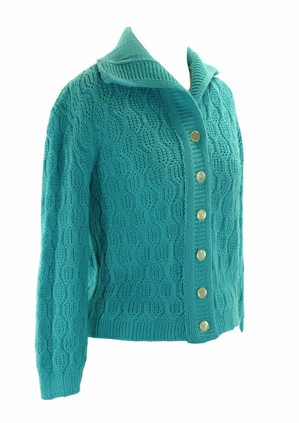 Vintage 1950s Blue Knitted Cardigan Sweater- New! (ON HOLD)