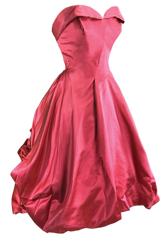 1950s Fuchsia Coloured Silk Taffeta Party Dress - New!
